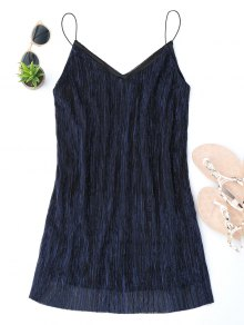 See Through Glittered Club Dress - Bleu Violet S