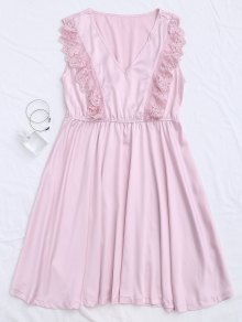 Lace Panel V Neck Satin Sleep Dress - Pink S