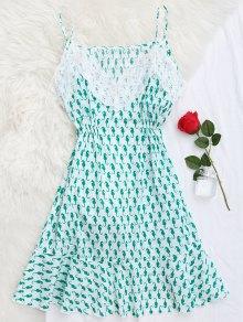 Sea Horse Print Lace Panel Cami Sleep Dress