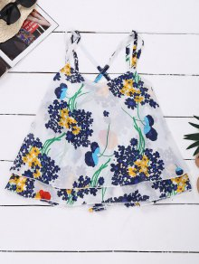 Chiffon Crossover Straps Floral Tank Top