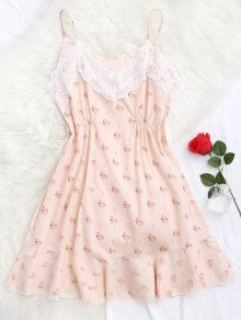 Flamingo Print Lace Panel Cami Sleep Dress - Pink L