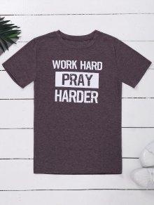 Crew Neck Slogan Print Graphic T-Shirt - Light Purple Xl