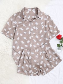 Elephant Print Blouse with Shorts Loungewear