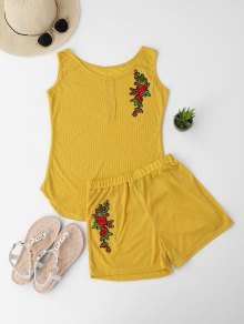 Embroidered Ribbed Tank Top and Knitting Short