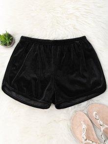 Elastic Waist Casual Velvet Shorts - Black M