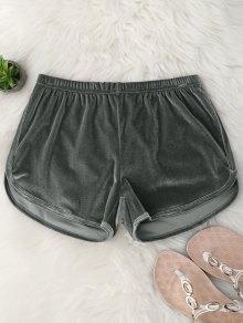 Elastic Waist Casual Velvet Shorts - Gray M