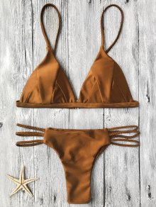 Padded Bikini Top And Braided String Bottoms - Brown M