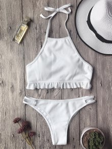 Textured Frilled High Neck Bikini Set - White M