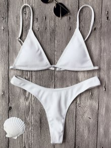 Textured Plunge Bikini Top and Thong Bottoms