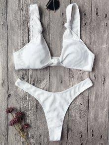 Textured Knotted Bralette Thong Bikini Set - White