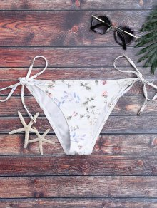 Low Waisted Tiny Floral String Bikini Bottoms - White Xl