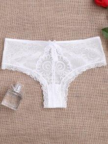 Lace Panel See Thru Thong Panties