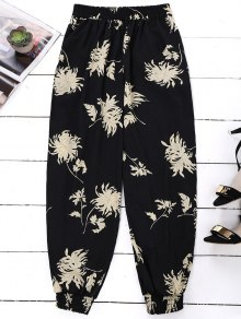 Floral Print Bloomer Holiday Pants - Noir