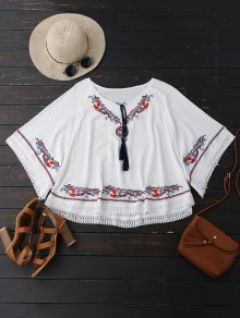 Oversized Embroidered Fringed Top - White