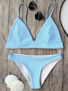Cami Plunge Bralette Bikini Top And Bottoms - Light Blue