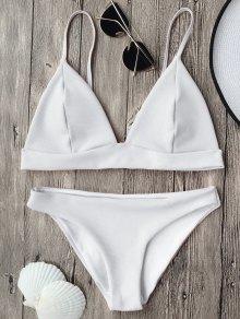 Cami Plunge Bralette Bikini Top And Bottoms - White M