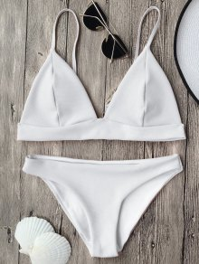 Cami Plunge Bralette Bikini Top And Bottoms - White S