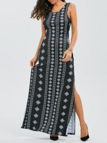 Back Bowknot Geometric Maxi Dress - Black M