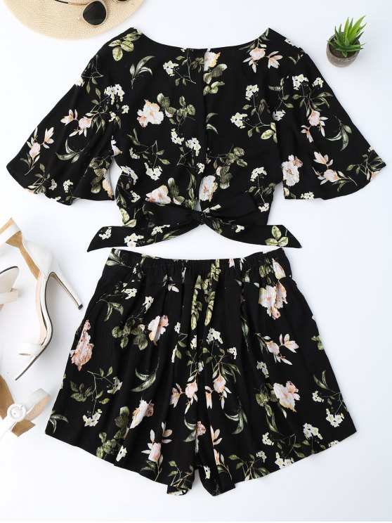 Bowknot Floral Cropped Top and Elastic Waist Shorts - FLORAL S Mobile