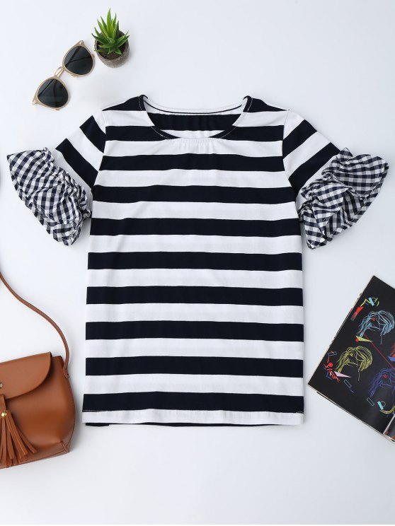 hot Checked Sleeve Striped Ruffles Top - STRIPE M