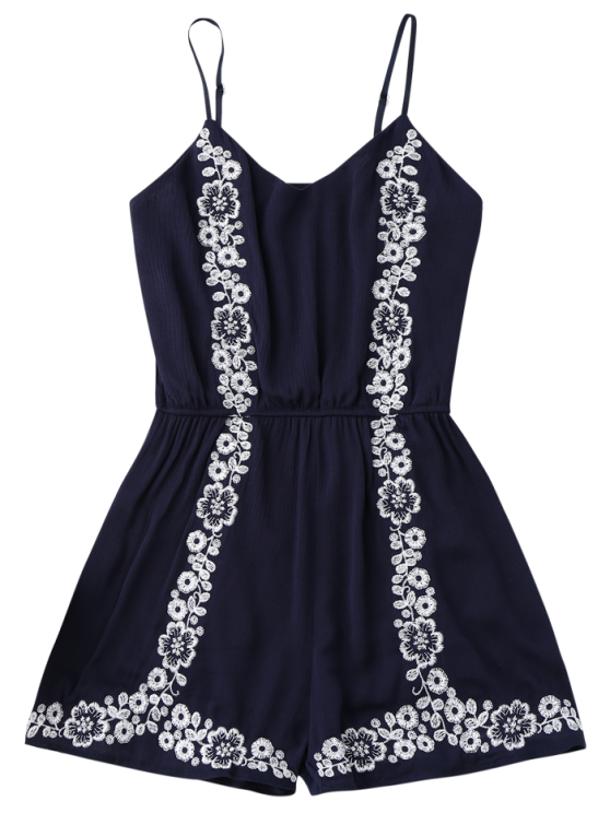 Cami Floral Embroidered Romper - PURPLISH BLUE ONE SIZE Mobile