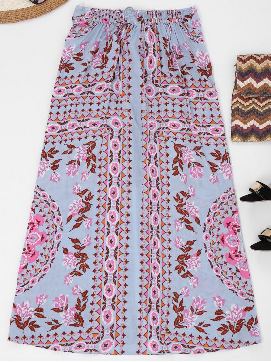 Button Up Slit Floral Holiday Skirt - FLORAL S Mobile