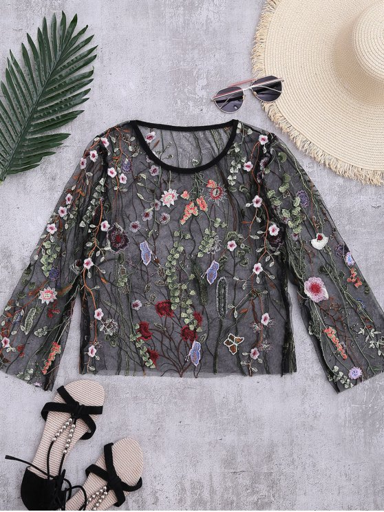 Floral Sheer Mesh Beach Cover Up Top - BLACK S Mobile