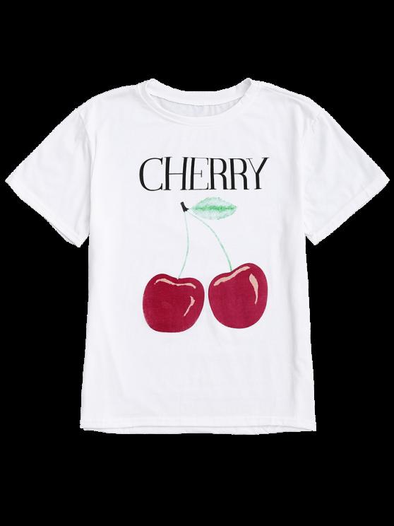 Cherry Print Short Sleeve T-Shirt - WHITE ONE SIZE Mobile
