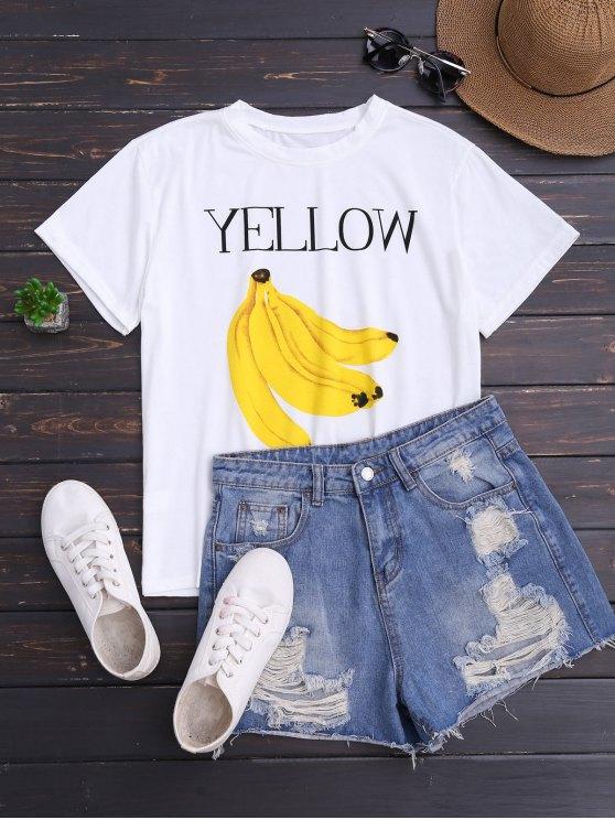 Banana Print Short Sleeve T-Shirt - WHITE ONE SIZE Mobile