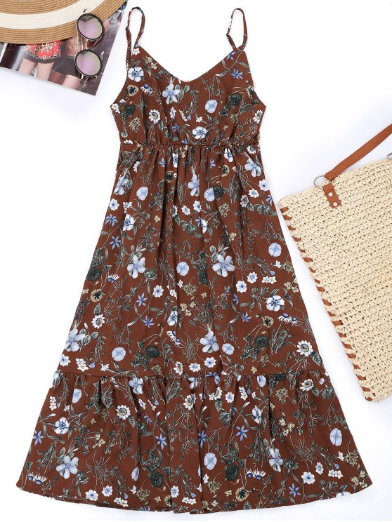 sale Cami Floral Empire Waist Holiday Dress - DARK AUBURN L