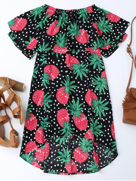 ladies Ruffle Off Shoulder Pineapple Dress - BLACK XL
