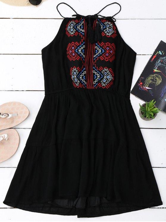Vestido de Sol de Bordado con Borlas - Negro Única Talla