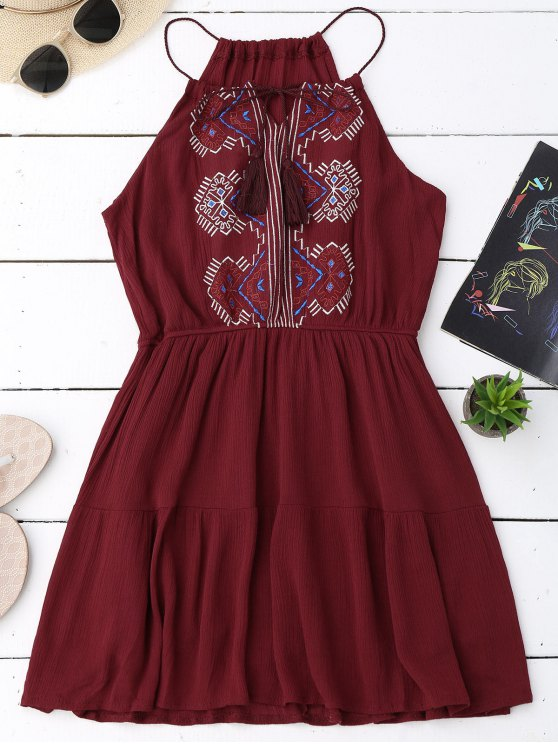 shop Embroidered Tassel Sundress - WINE RED ONE SIZE