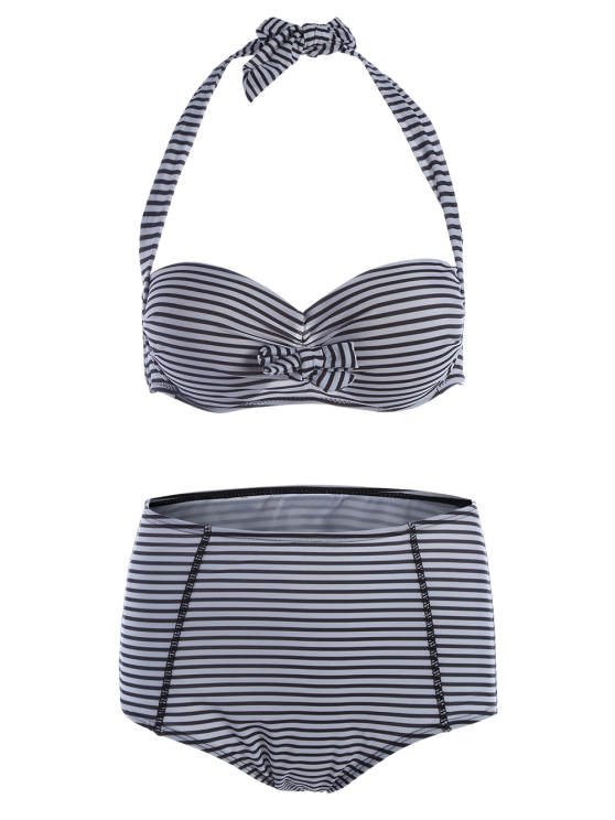Halter Neck Stripe High Waist Bikini Set - STRIPE S Mobile