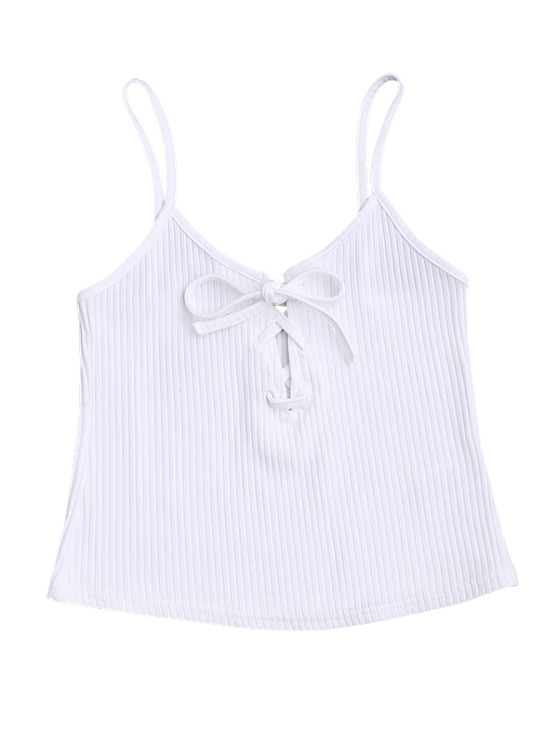 Ribbed Lace Up Crop Tank Top - WHITE S Mobile