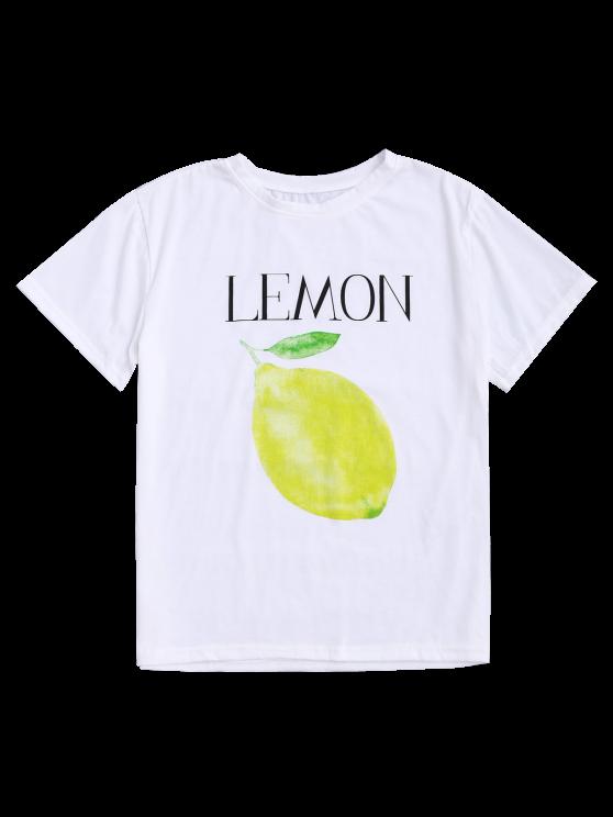 Lemon Print Short Sleeve T-Shirt - WHITE ONE SIZE Mobile