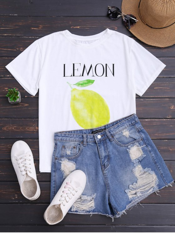 outfits Lemon Print Short Sleeve T-Shirt - WHITE ONE SIZE