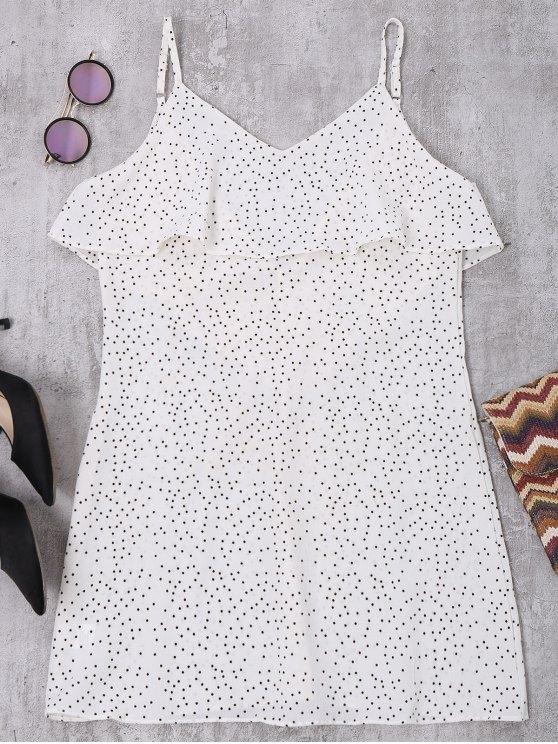 Cami Ruffle Polka Dot V Vestido trasero - Blanco S