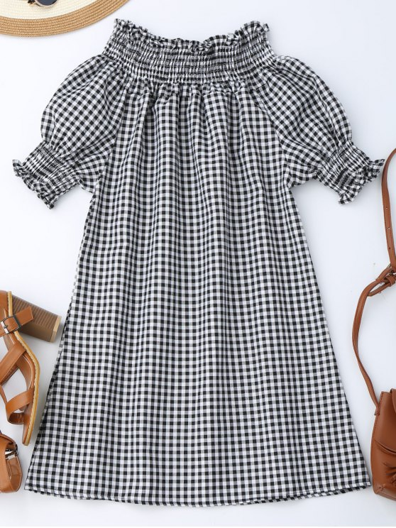 women's Off The Shoulder Puff Sleeve Plaid Dress - CHECKED S