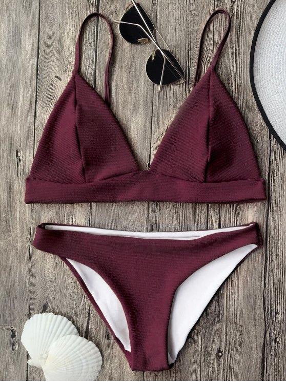 Traje de Bikini de Tirantes Finos con Escote Pico - Burdeos M