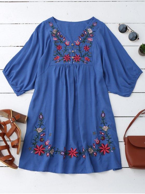 Vestido bordado floral del camionero del cuello de V - Azul Única Talla