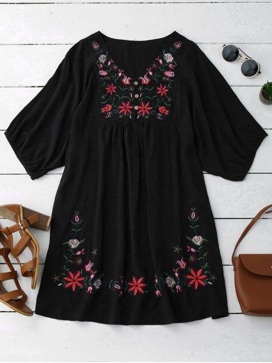 Vestido de Campesino con Cuello en V con Bordado Floral - Negro Única Talla