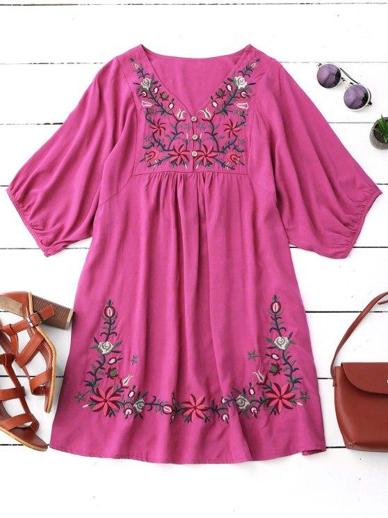 Vestido de Campesino con Cuello en V con Bordado Floral - Rosa Roja Única Talla