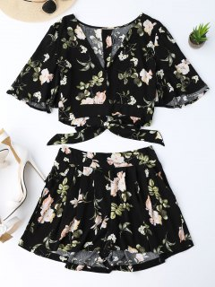 Bowknot Floral Cropped Top And Elastic Waist Shorts - Floral S