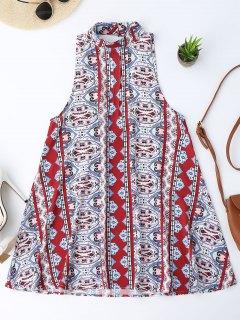 Backless Printed Tunic Dress - S