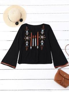 V Neck Embroidered Bell Sleeve Top - Black