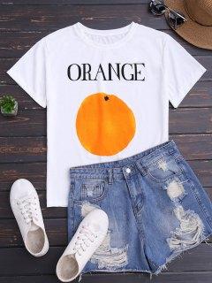 كم قصير برتقالي طباعة تي شيرت - أبيض