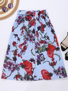 Tie Front Plaid Floral Skirt - Checked M