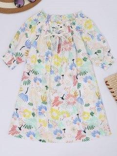 Robe Imprimée De Motif Floral à épaules Tombantes à Lacet Haut - Floral L