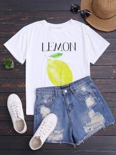 Lemon Print Short Sleeve T-Shirt - White